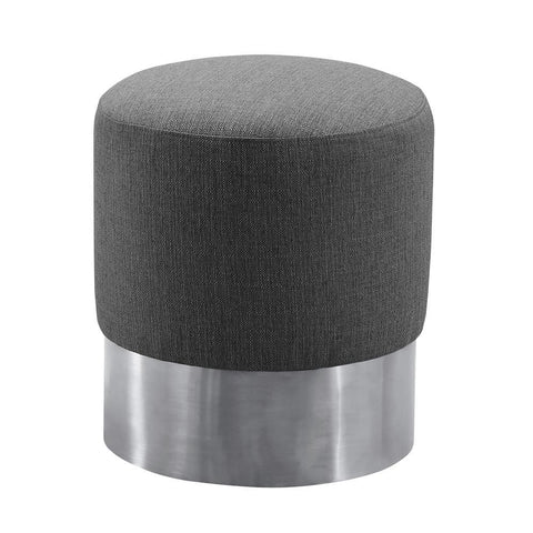 Armen Living Tabitha Contemporary Round Ottoman in Brushed Stainless Steel w/Grey Fabric