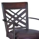 "Armen Living Tahiti 26"" Arm Barstool in Auburn Bay finish with Brown Pu upholstery"