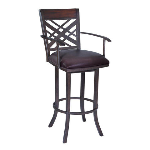 "Armen Living Tahiti 30"" Arm Barstool in Auburn Bay finish with Brown Pu upholstery"