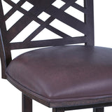 "Armen Living Tahiti 30"" Barstool in Auburn Bay finish with Brown Pu upholstery"