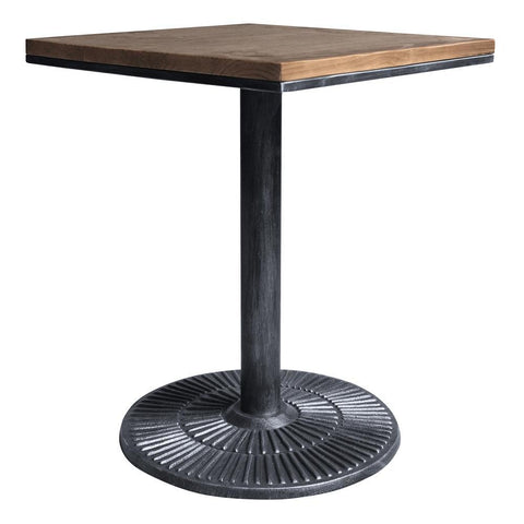 Armen Living Talia Industrial Pub Table in Industrial Grey & Pine Wood Top