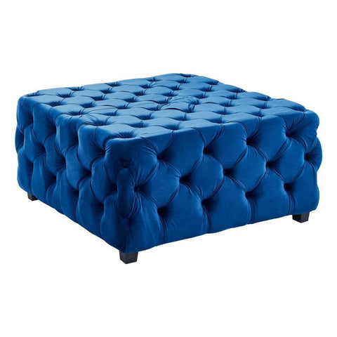 Armen Living Taurus Contemporary Ottoman in Blue Velvet w/Wood Legs