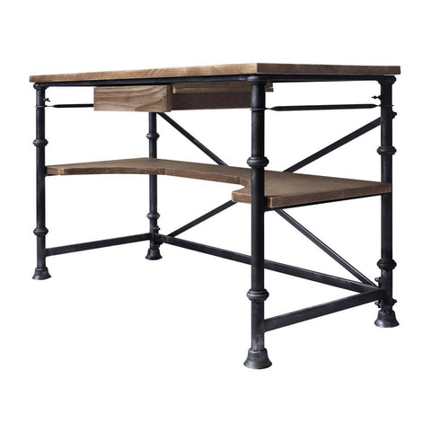 Armen Living Theo Industrial Desk in Industrial Grey & Pine Wood Top