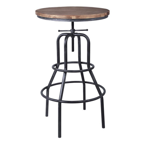 Armen Living Titan Industrial Adjustable Pub Table in Industrial Grey & Pine Wood Top