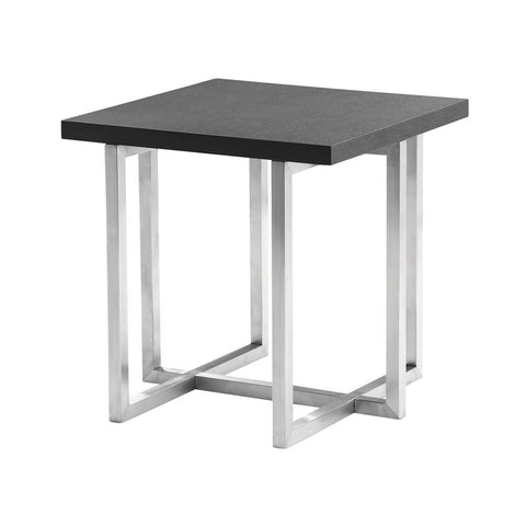 Armen Living Topaz Contemporary End Table in Brushed Stainless Steel w/Grey Veneer Wood Top