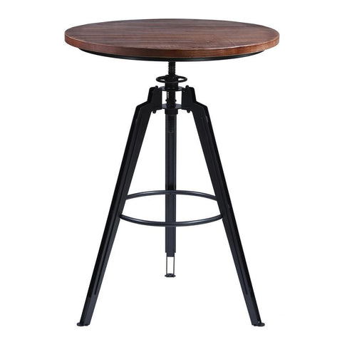 Armen Living Tribeca Pub Table in Industrial Grey Finish with Pine Wood Tabletop