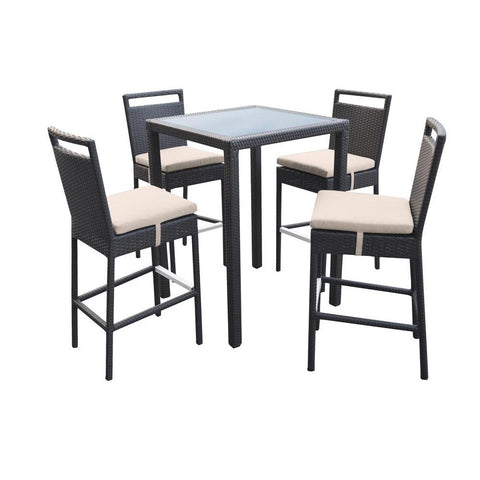 Armen Living Tropez 5 Piece Outdoor Patio Wicker Bar Set