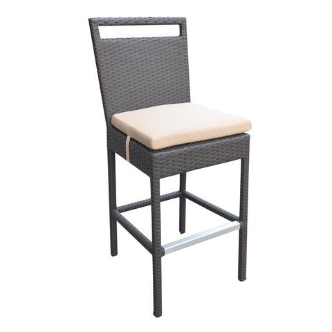 Armen Living Tropez Outdoor Patio Wicker Barstool w/Water Resistant Beige Fabric Cushions