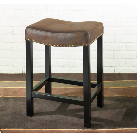 Armen Living Tudor Backless Stationary Barstool Covered In Wrangler Brown Fabric With Nail head Accents Mbs-013
