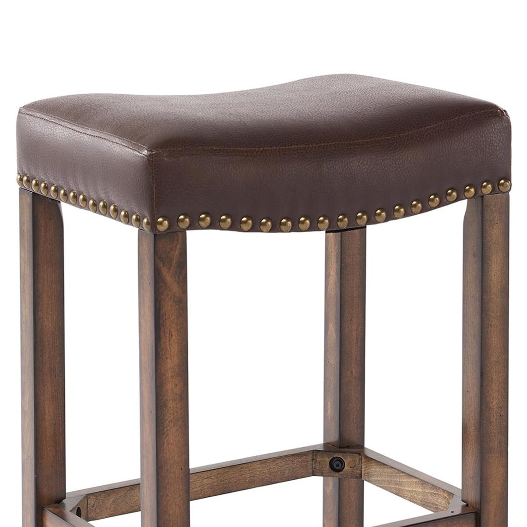 armen living tudor wood backless barstool in chestnut kahlua beyond stores. Black Bedroom Furniture Sets. Home Design Ideas