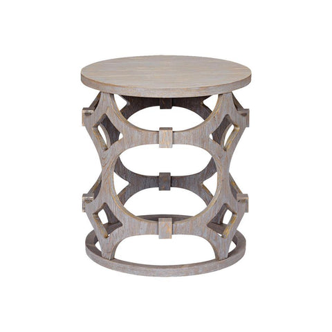 Armen Living Tuxedo Round End Table w/Gray & Gray Top