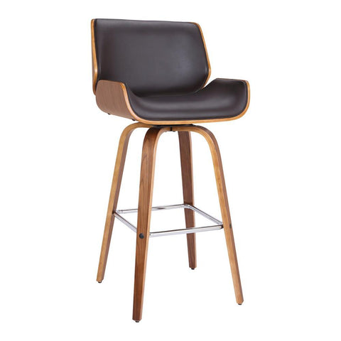 Armen Living Tyler Barstool in Brown Faux Leather w/Walnut Veneer