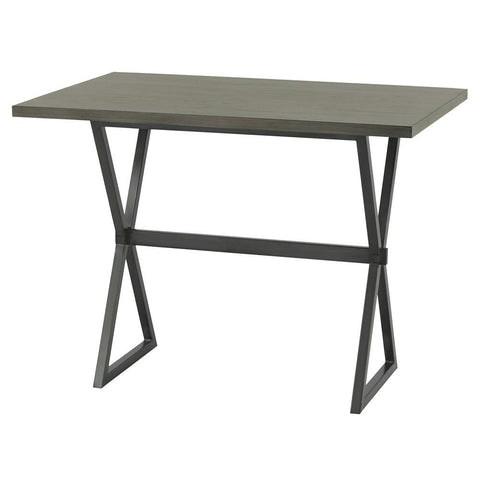 Armen Living Valencia Contemporary Rectangular Bar Table in Mineral w/Grey Walnut Wood Top