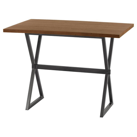 Armen Living Valencia Contemporary Rectangular Bar Table in Mineral w/Walnut Wood Top