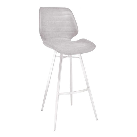 Armen Living Valor Barstool in Brushed Stainless Steel w/Light Vintage Grey Faux Leather