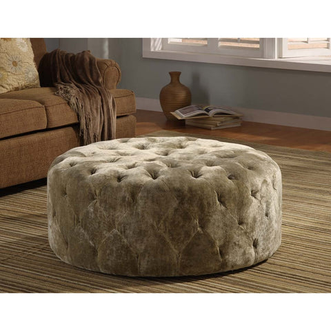 "Armen Living Victoria 36"" Round Moss In Green Ottoman"