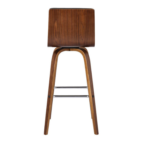 "Armen Living Vienna 26"" Barstool in Walnut Wood Finish with Grey Pu Upholstery"