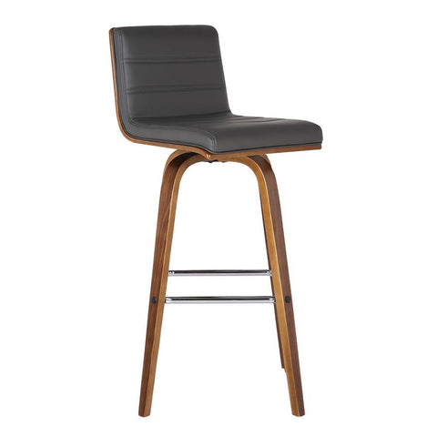 "Armen Living Vienna 30"" Barstool in Walnut Wood Finish with Grey Pu Upholstery"