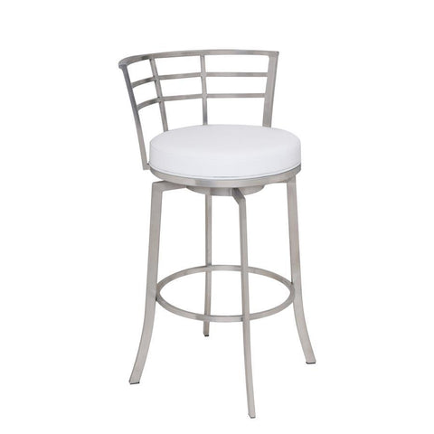 "Armen Living Viper 26"" Barstool in Brushed Stainless Steel finish with White Pu upholstery"