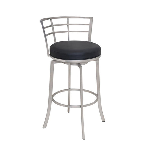 "Armen Living Viper 30"" Barstool in Brushed Stainless Steel finish with Black Pu upholstery"