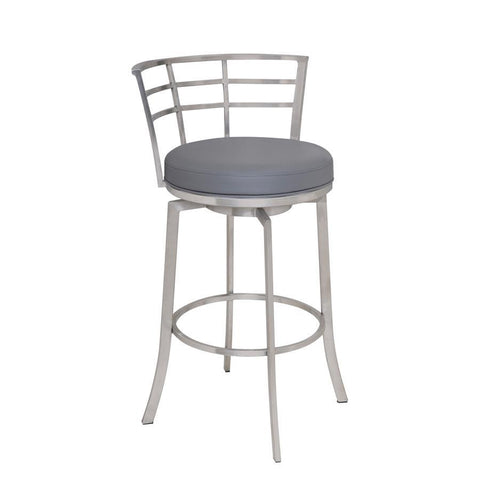 "Armen Living Viper 30"" Barstool in Brushed Stainless Steel finish with Grey Pu upholstery"