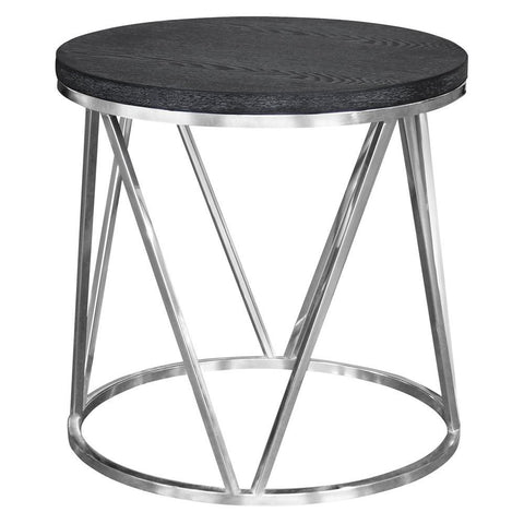 Armen Living Vivian Contemporary End Table in Polished Stainless Steel w/Grey Top
