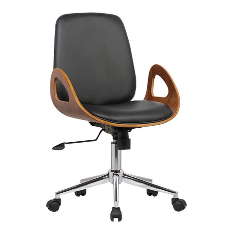 Armen Living Wallace Mid-Century Office Chair in Chrome w/Black Faux Leather & Walnut Veneer Back