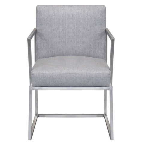 Armen Living Warwick Contemporary Dining Chair in Brushed Stainless Steel w/Grey Fabric