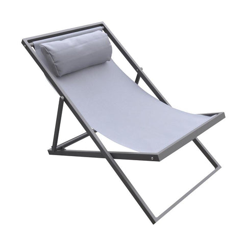 Armen Living Wave Outdoor Patio Aluminum Deck Chair in Grey Powder Coated w/Grey Sling Textilene
