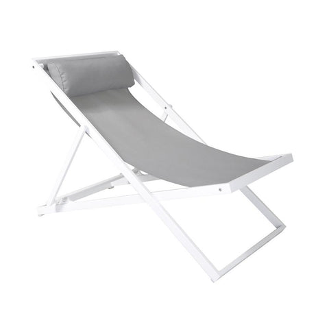 Armen Living Wave Outdoor Patio Aluminum Deck Chair in White Powder Coated w/Grey Sling Textilene