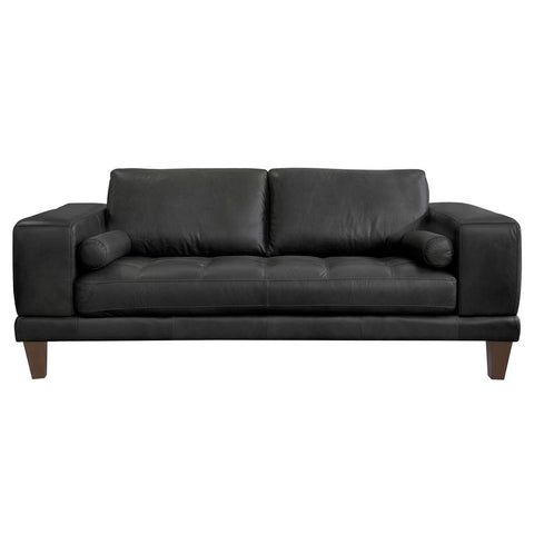 Armen Living Wynne Contemporary Loveseat in Genuine Black Leather w/Brown Wood Legs