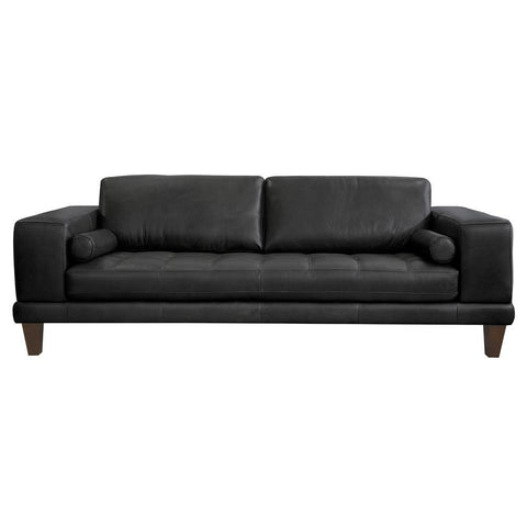 Armen Living Wynne Contemporary Sofa in Genuine Black Leather w/Brown Wood Legs