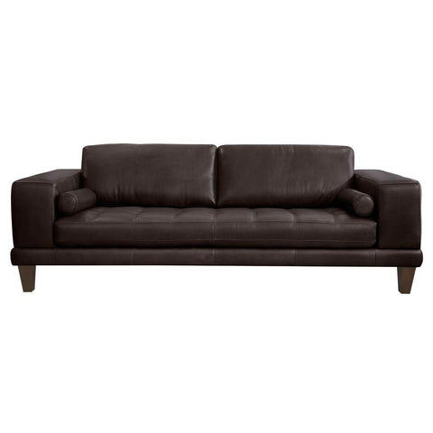 Armen Living Wynne Contemporary Sofa in Genuine Espresso Leather w/Brown Wood Legs