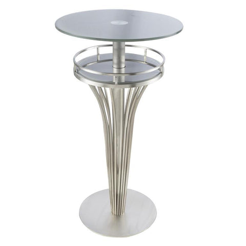 Armen Living Yukon Contemporary Bar Table In Stainless Steel and Gray Frosted Tempered Glass
