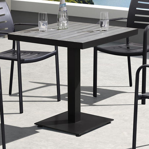 Armen Living Zander Outdoor Patio Dining Table in Brown Cast Aluminum w/Wood Top