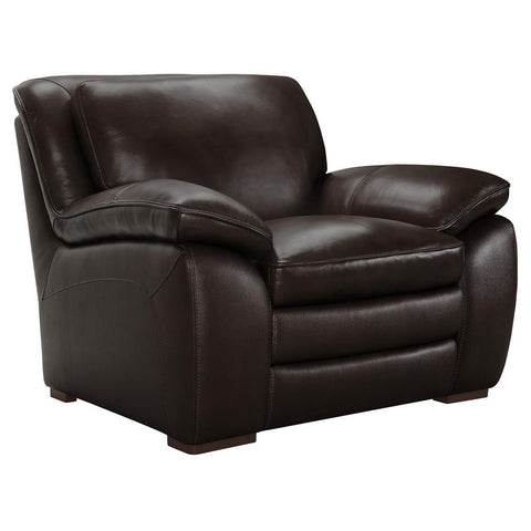 Armen Living Zanna Contemporary Chair in Genuine Dark Brown Leather w/Brown Wood Legs