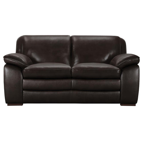 Armen Living Zanna Contemporary Loveseat in Genuine Dark Brown Leather w/Brown Wood Legs