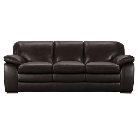 Armen Living Zanna Contemporary Sofa in Genuine Dark Brown Leather w/Brown Wood Legs