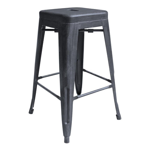 Armen Living Zed Industrial 26 Inch Counter Height Backless Barstool in Industrial Grey