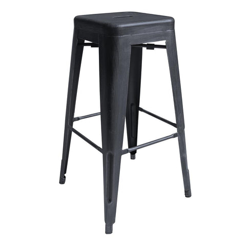 Armen Living Zed Industrial 30 Inch Bar Height Backless Barstool in Industrial Grey