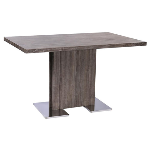 Armen Living Zenith Contemporary Dining Table w/Brushed Stainless Steel Base & Gray Walnut Veneer
