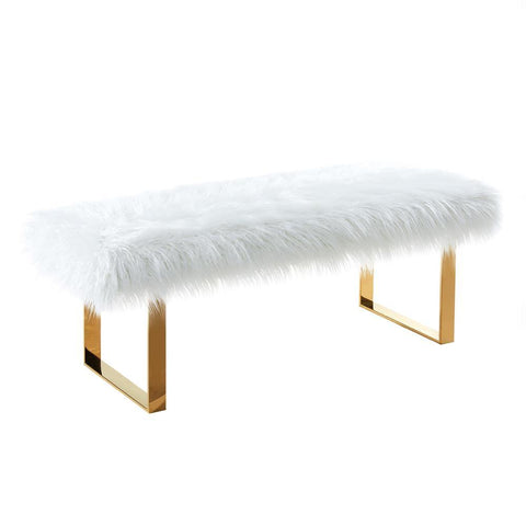 Armen Living Zinna Contemporary Bench in White Fur & Gold Stainless Steel