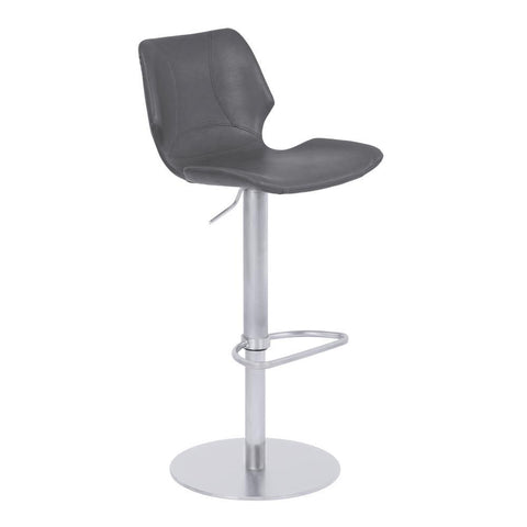 Armen Living Zuma Adjustable Metal Barstool in Vintage Gray Faux Leather w/Brushed Stainless Steel