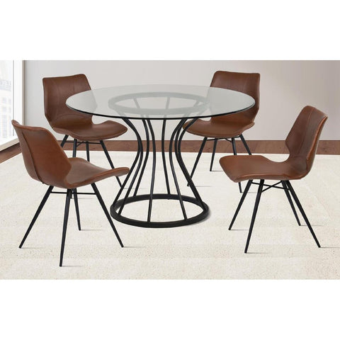 Armen Living Zurich 5 Piece Round Glass Dining Room Set in Black