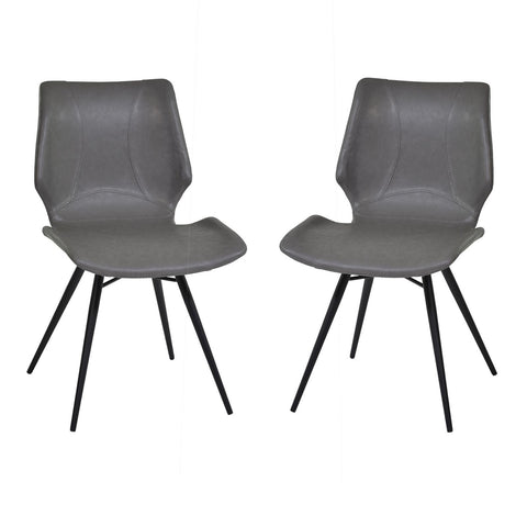Armen Living Zurich Dining Chair in Vintage Gray & Black Metal