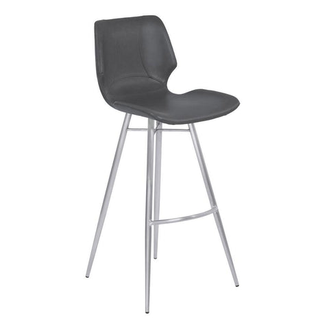 Armen Living Zurich Metal Barstool in Vintage Gray Faux Leather w/Brushed Stainless Steel