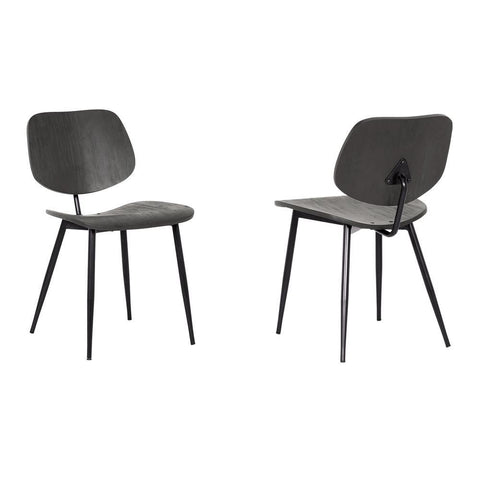 Armen Miki Mid-Century Black Wood Dining Accent Chairs (Set of 2)