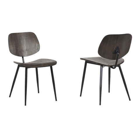 Armen Miki Mid-Century Walnut Wood Dining Accent Chairs (Set of 2)