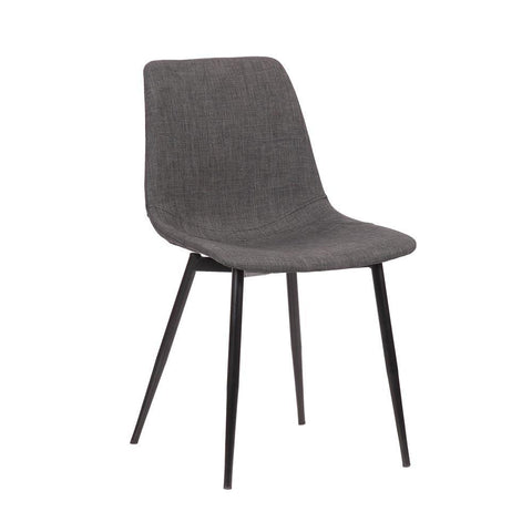 Armen Monte Contemporary Dining Chair in Charcoal Faux Leather with Black Powder Coated Metal Legs