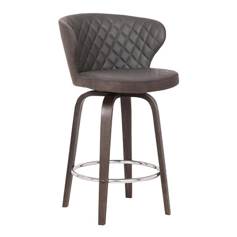 Armen Mynette Swivel Brown Faux Leather Stool